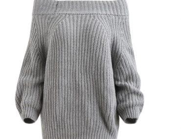 Dresslily alışverişi / Omzu açık gri kazak